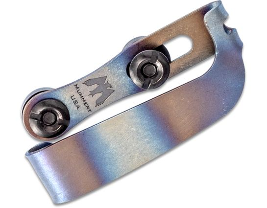 Mummert Knives Custom Slotted Titanium Clip V2 with Mounting Hardware, Flamed