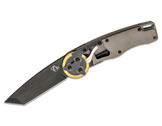 Mantis GH2022TB Gearhead Folding Knife 3.38 inch Black Stonewashed Tanto Plain Blade, Gray Aluminum Handles with Brass Ring