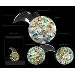 Mantis MCk-3 Heriess Coin Knife, 0.75 inch Hawkbill Blade, Abalone Handles