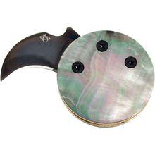 Mantis MCK-4 Monarch Coin Knife, 0.75 inch Black Hawkbill Blade, Black Pearl Handles