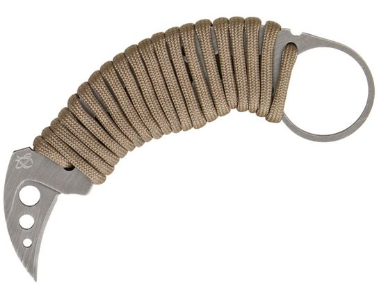 Mantis MK-fs Evis-1 Fixed Karambit 1.25 inch Shawty Blade, Silver Paracord Wrapped Handle