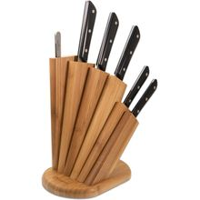 Maserin 2081/MED Mediterraneo 7 Piece Kitchen Knife Stand Set, Black POM Handles