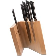 Maserin 2082/MED Mediterraneo 7 Piece Kitchen Knife Magnetic Block Set, Black POM Handles
