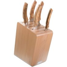 Maserin 2084/MON 6 Piece Kitchen Knife Block Set, Olive Wood Handles