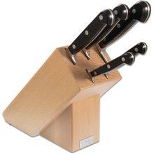 Maserin 2085/CLA Classic 6 Piece Kitchen Knife Stand Set, Black POM Handles