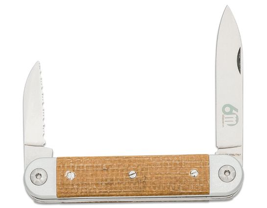 Maserin 195/MCG Sessantesimo Slipjoint Pocket Knife, Pen and Serrated Sheepsfoot Blades, Gray Aluminum Handles with Yellow Micarta Onlays, Leather Pouch