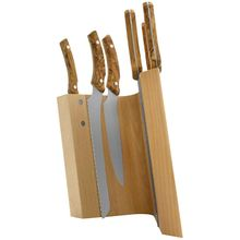 Maserin 2082/MON 7 Piece Kitchen Knife Magnetic Stand Set, Olive Wood Handles