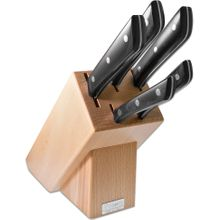 Maserin 2085/MED Mediterraneo 6 Piece Kitchen Knife Stand Set, Black POM Handles