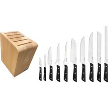 Maserin 2086/MED Mediterraneo 11 Piece Kitchen Knife Block Set, Black POM Handles