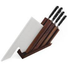 Maserin 2090/AP2 Apollo 2 Seven Piece Kitchen Knife Block Set with Cutting Board, Black POM Handles