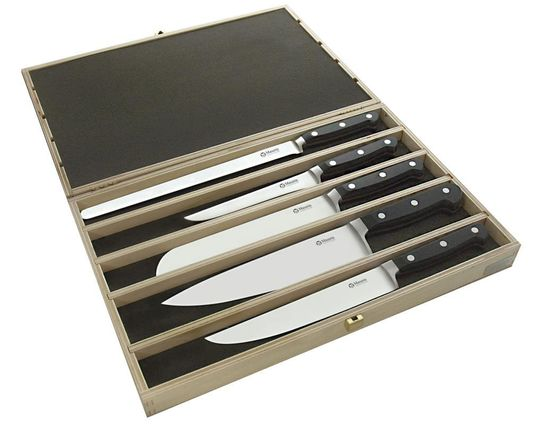 Maserin 2000SS01 Classic 5 Piece Kitchen Knife Set in Wooden Presentation Box, Black POM Handles