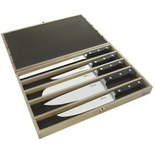 Maserin 2000SS01 Classic 5 Piece Kitchen Knife Set in Wooden Presentation Box, Black POM Handles