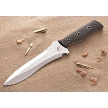 Mercworx Sniper Standard Combat Knife 7.5 inch S30V Double Edge Blade, Micarta Handles