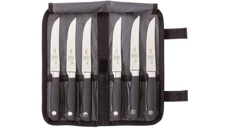Mercer Cutlery Genesis 7 Piece Steak Knife Set, Includes Knife Roll