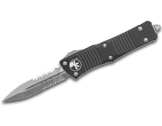 Microtech 138-5 Troodon AUTO OTF Knife 3.06 inch Satin Double Combo Edge Dagger Blade, Black Aluminum Handles