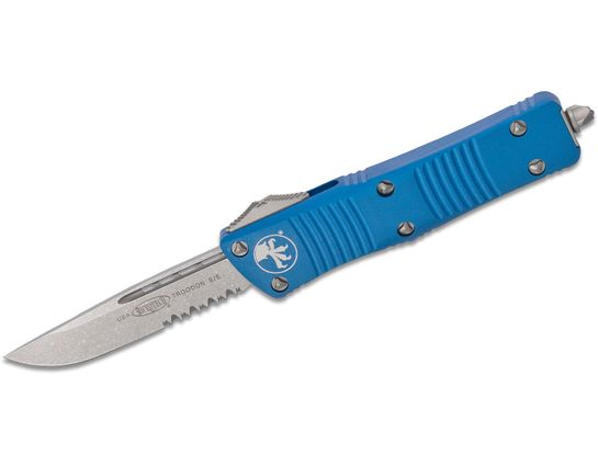 Microtech 139-11BL Troodon AUTO OTF Knife 3.06 inch Stonewashed Combo Drop Point Blade, Blue Aluminum Handle