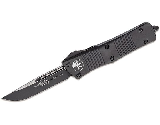 Microtech 139-1T Troodon Tactical AUTO OTF Knife 3.06 inch Black Drop Point Plain Blade, Black Aluminum Handles