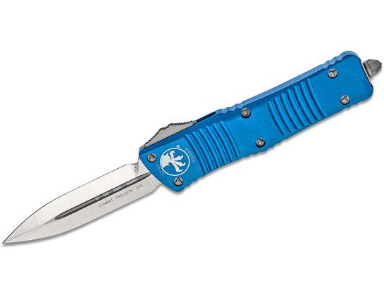 Microtech 142-4BL Combat Troodon AUTO OTF Knife 3.75 inch Satin Double Edge Dagger Blade, Blue Aluminum Handles