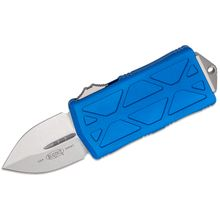 Microtech 157-10BL Exocet OTF Money Clip AUTO Knife 1.98 inch Stonewashed Double Edge Blade, Blue Aluminum Handles