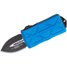 Microtech 157-1BL Exocet OTF Money Clip AUTO Knife 1.98 inch Black Double Edge Blade, Blue Aluminum Handles