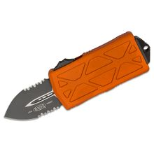 Microtech 157-2OR Exocet OTF Money Clip AUTO Knife 1.98 inch Black Double Combo Edge Blade, Orange Aluminum Handles
