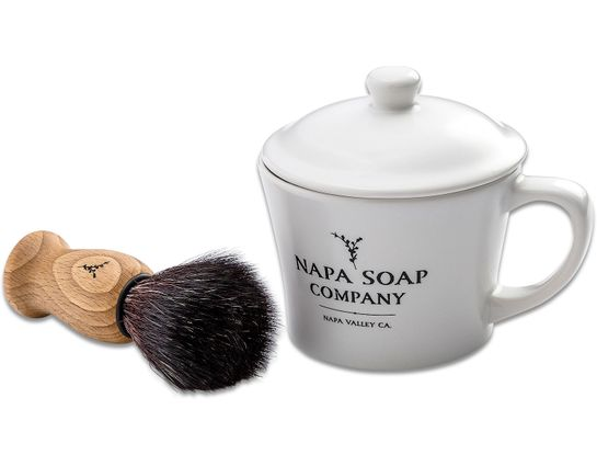 Napa Soap Company Ceramic Shaving Soap Gift Set, Ocean Blend
