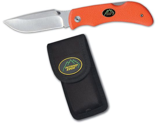 Outdoor Edge Grip-Blaze Folding Skinner 3.2 inch Blade, Orange Kraton Handles