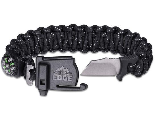 Outdoor Edge ParaSpark Paracord Suvival Bracelet, Medium, Black