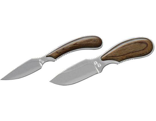 Outdoor Edge Dark Timber Skinner-Caper Hunting Knife Combo, Pakkawood Handles, Leather Sheath