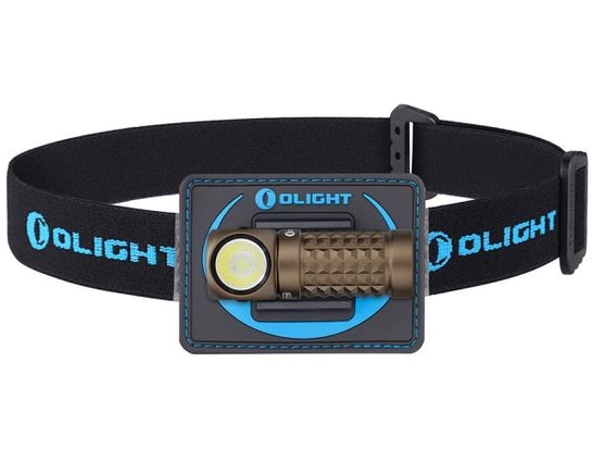 Olight Perun Mini Kit Right-Angle Rechargeable LED Flashlight with Headlamp Headband Included, Desert Tan, 1000 Max Lumens