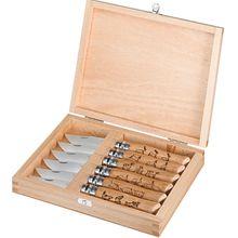 Opinel 6-Piece Animal Engraved N07 Folding Knife Set 3.1875 inch Sandvik 12C27 Plain Blades, Boxwood Handles, Gift Box