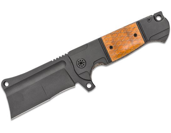 Andre De Villiers Knives Battle Cleaver Flipper Knife 4 inch M390 Black Cerakote Duplex Blade, Black Cerakote Titanium Handles with  Brown C-Tek Inlays