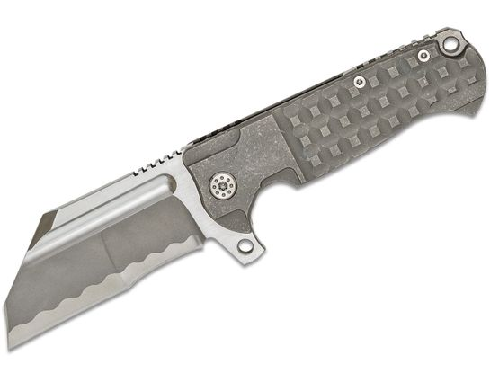 Andre De Villiers Knives Battle Cleaver Flipper Knife 4 inch S35VN Simulated Hamon Duplex Blade, Stonewashed Hamon Milled Titanium Handles