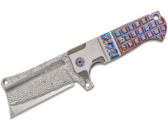 Andre De Villiers Knives Battle Cleaver Flipper Knife 4 inch VG-10 Damascus Blade, Titanium Handles with Frag Milled Mokuti Inlays