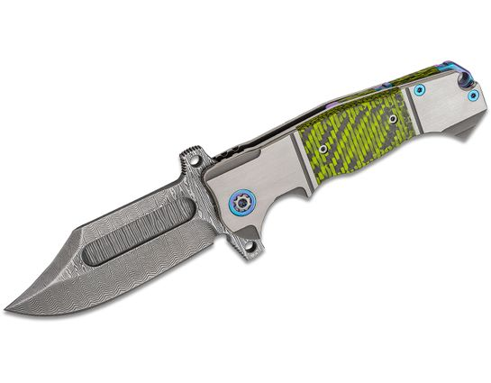 Andre De Villiers Knives Badlands Bowie Flipper Knife 4 inch VG-10 Damascus Blade, Titanium Handles with Green Carbon Fiber Inlays