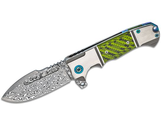 Andre De Villiers Knives Harpoon Flipper Knife 3.8 inch VG-10 Damascus Blade, Titanium Handles with Green Carbon Fiber Inlays