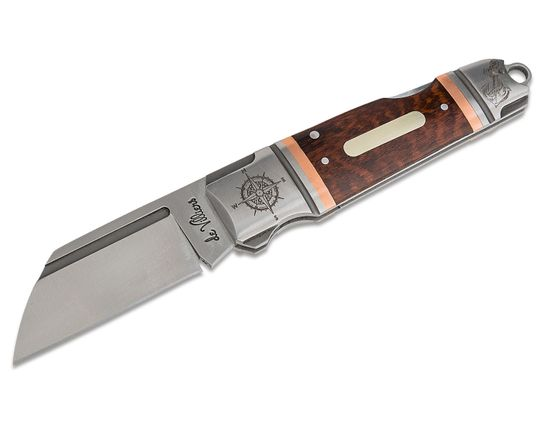 Andre De Villiers Knives Pocket Butcher Lockback Folding Knife 2.75 inch N690 Wharncliffe Blade, Laser Etched Stainless Steel Handles with Rosewood and Copper Inlays, Pocket Clip Included