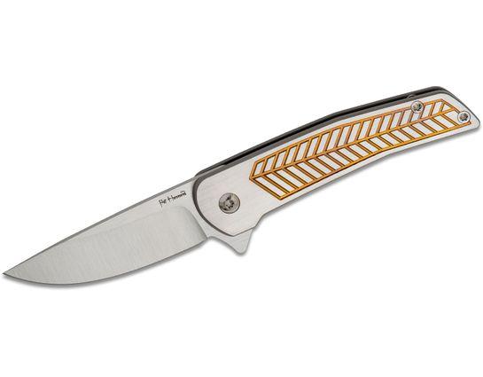 Alliance Designs Pat Hammond Scout Flipper Knife 2.25 inch RWL-34 Drop Point Blade, Gold Milled Titanium Handles