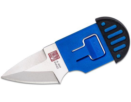Al Mar Stinger Keychain Fixed Blade Knife 1.3 inch D2 Drop Point, Blue & Black TPR Handle, TPR Sheath