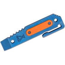 Jens Anso Custom Titanium Prybar12 Multi-Tool with Pocket Clip, Blue Anodized with Orange G10 Inlay