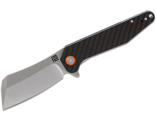 ArtisanCutlery Osprey 1803P-CF Flipper Knife 3.74 inch D2 Stonewashed Cleaver-Style Blade, Carbon Fiber Handles