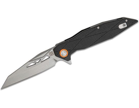 ArtisanCutlery Cygnus Flipper Knife 3.625 inch Stonewashed D2 Reverse Tanto Blade, Black Textured G10 Handles