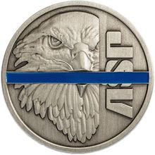 ASP Thin Blue Line Challenge Coin with Plastic Case