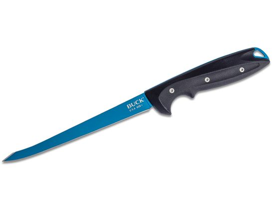 Buck 035 Abyss Fillet Knife 6.5 inch Flexible Blade, Dark Blue Glass Reinforced Nylon Handles, Injection Molded Nylon Sheath