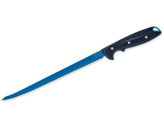 Buck 036 Abyss Fillet Knife 9.5 inch Flexible Blade, Dark Blue Glass Reinforced Nylon Handles, Injection Molded Nylon Sheath