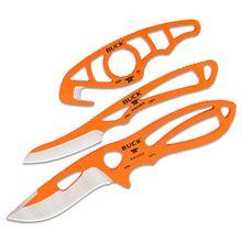 Buck PakLite Series (Hunter Orange Cerakote) Field Master Combo - Includes Skinner, Caper and Guthook, Black Nylon Sheath