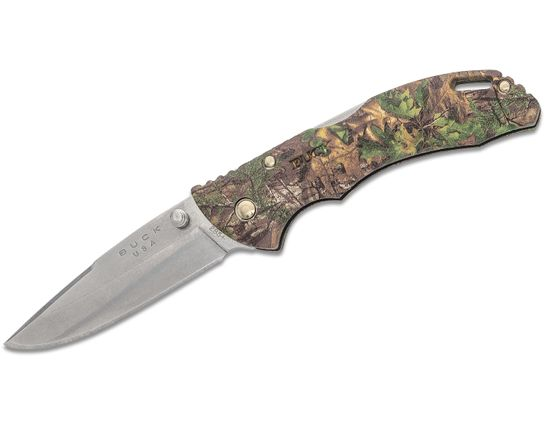 Buck 285 Bantam BLW Folding Knife 3.125 inch Drop Point Blade, RealTree Xtra Green GRN Handles