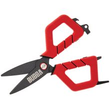Bubba Blade Small Fishing Shears, 6 inch Overall, Red TPR Handles