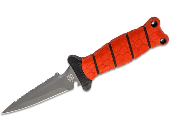 Bubba Blade Pointed Scout Dive Knife 3.5 inch Gray Double Edge Combo Blade, Red TPR Handle, Polymer Sheath