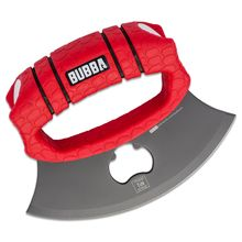 Bubba Blade Protues Ulu Knife 5.75 inch Gray Blade, Red TPR Handle, Black Polymer Sheath